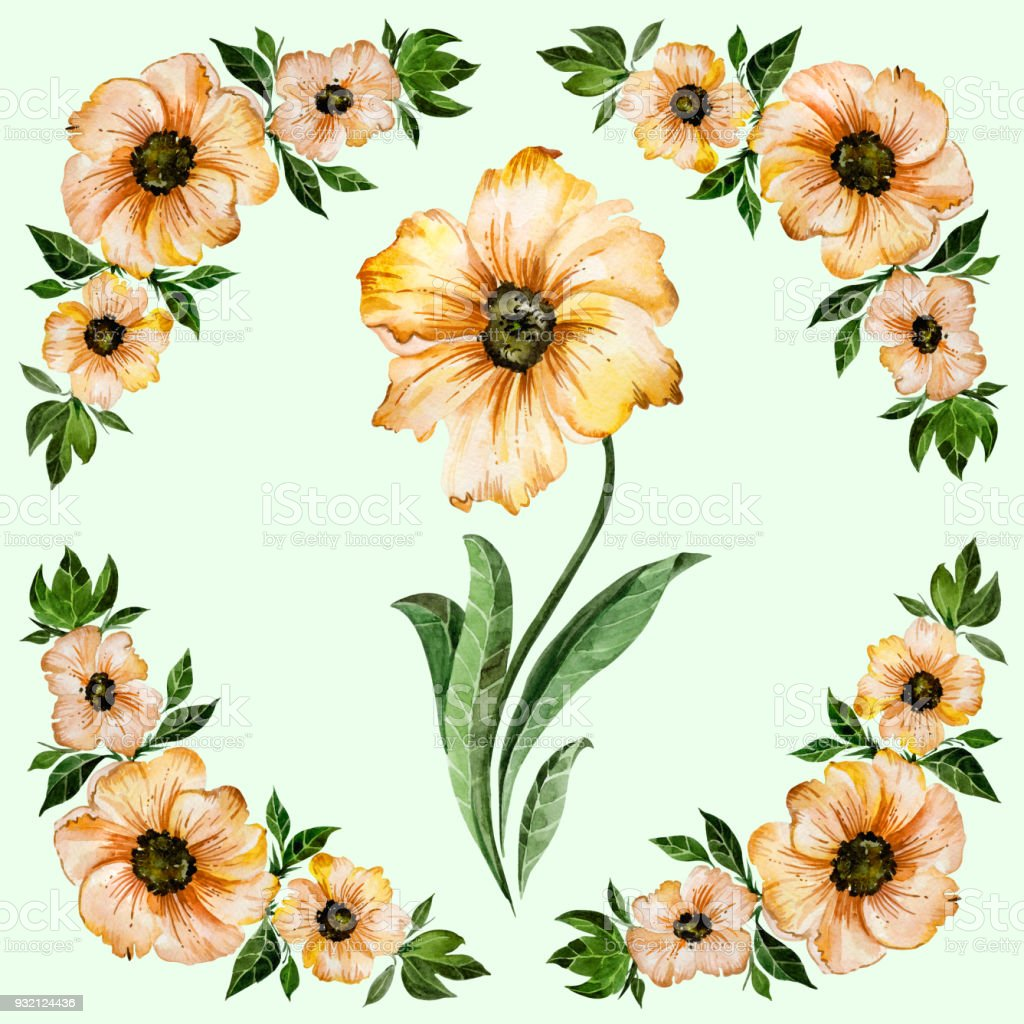 Floral illustration beautiful yellow flowers with green leaves round beautiful yellow flowers with green leaves round pattern on light green background mightylinksfo