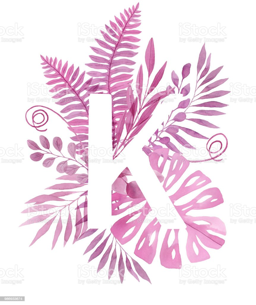 Floral Letter K Pink Tropical Leaves And Branches Painted With ...