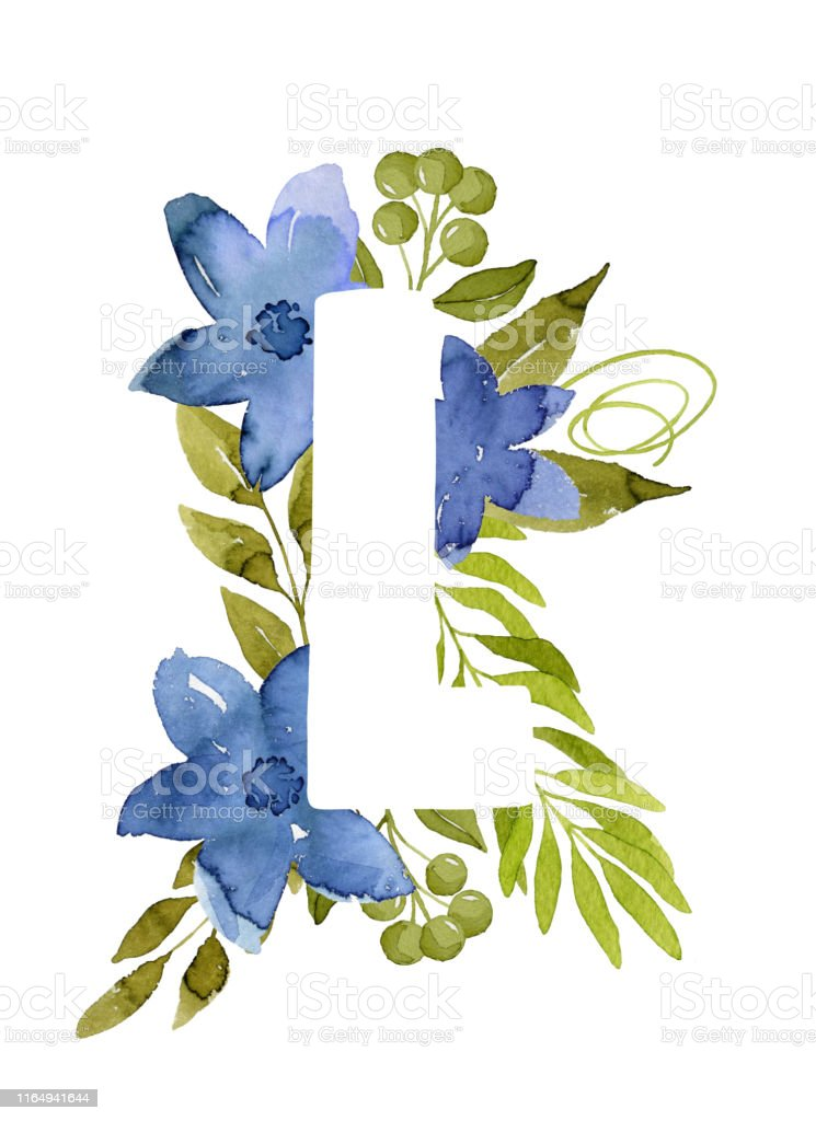 Floral Letter L Monogram Blue Watercolor Flowers And Green Leaves Stock Illustration Download Image Now