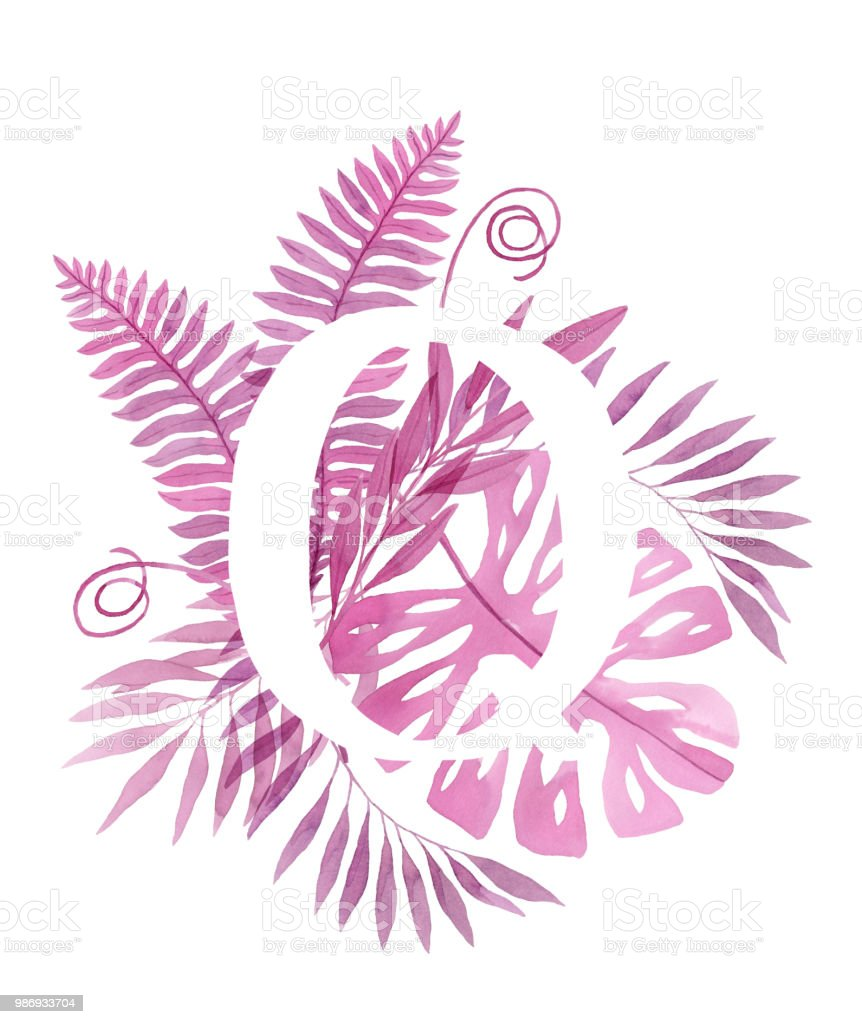 Floral Letter Q Pink Tropical Leaves And Branches Painted With ...