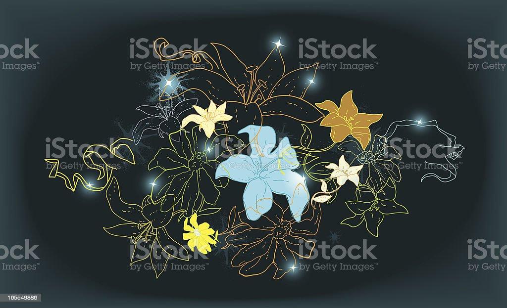 floral line work pattern or banner vector art illustration
