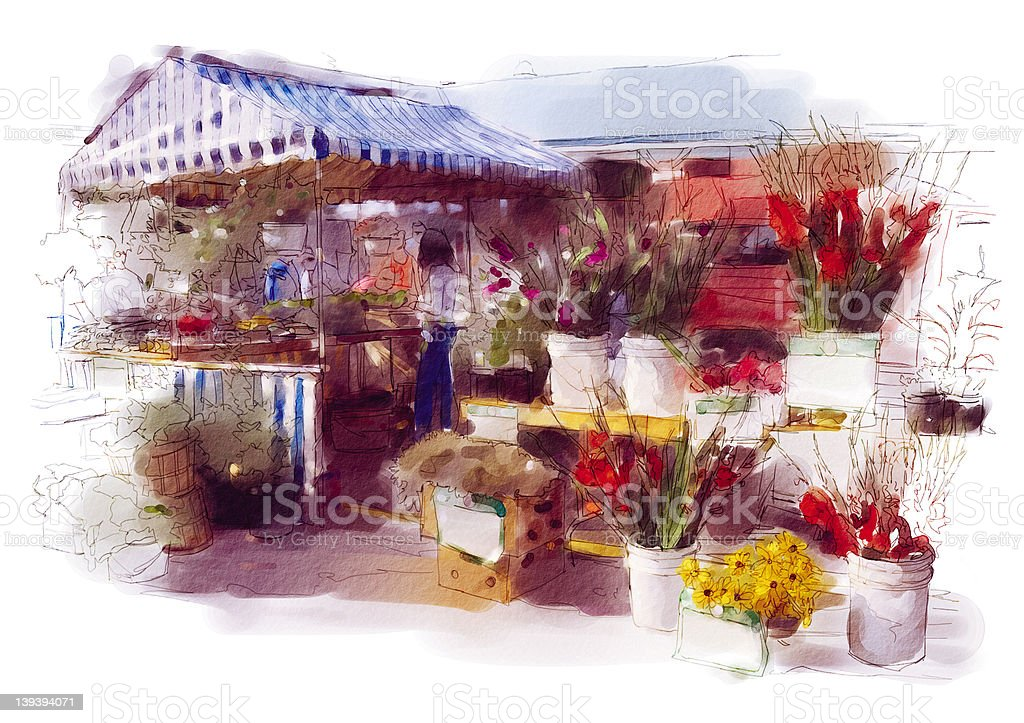 Floral Market royalty-free stock vector art