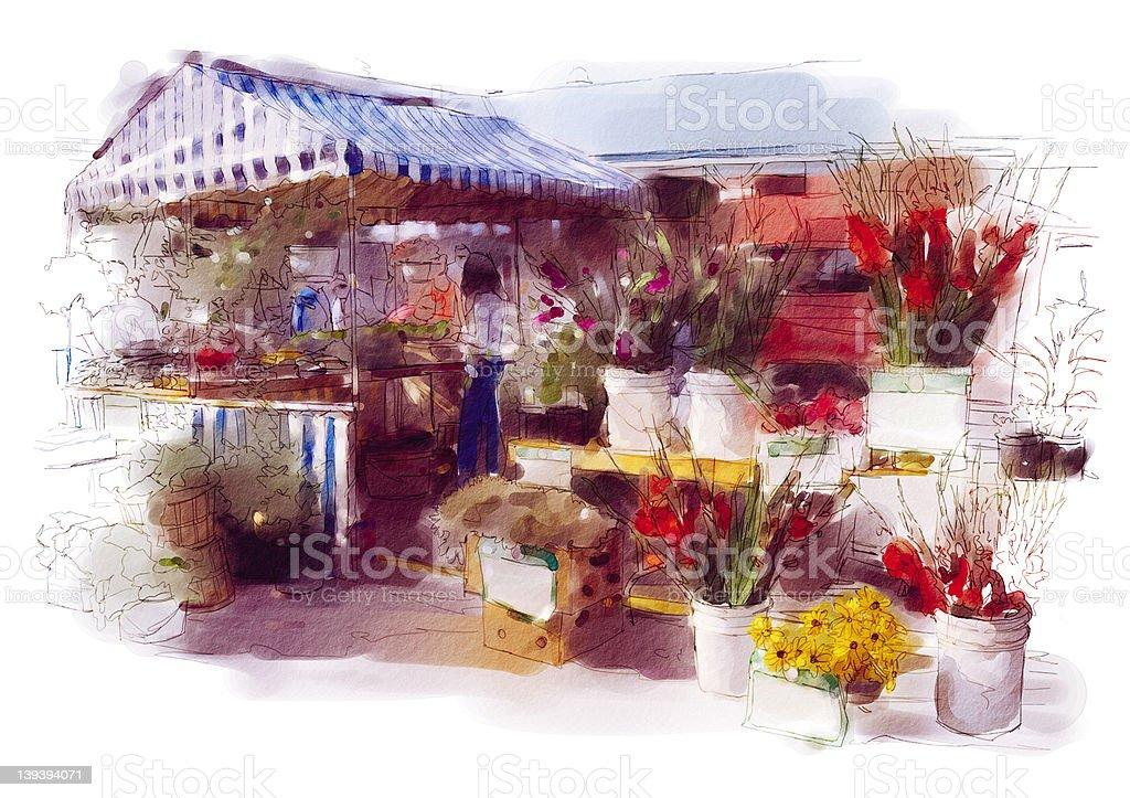 Floral Market vector art illustration