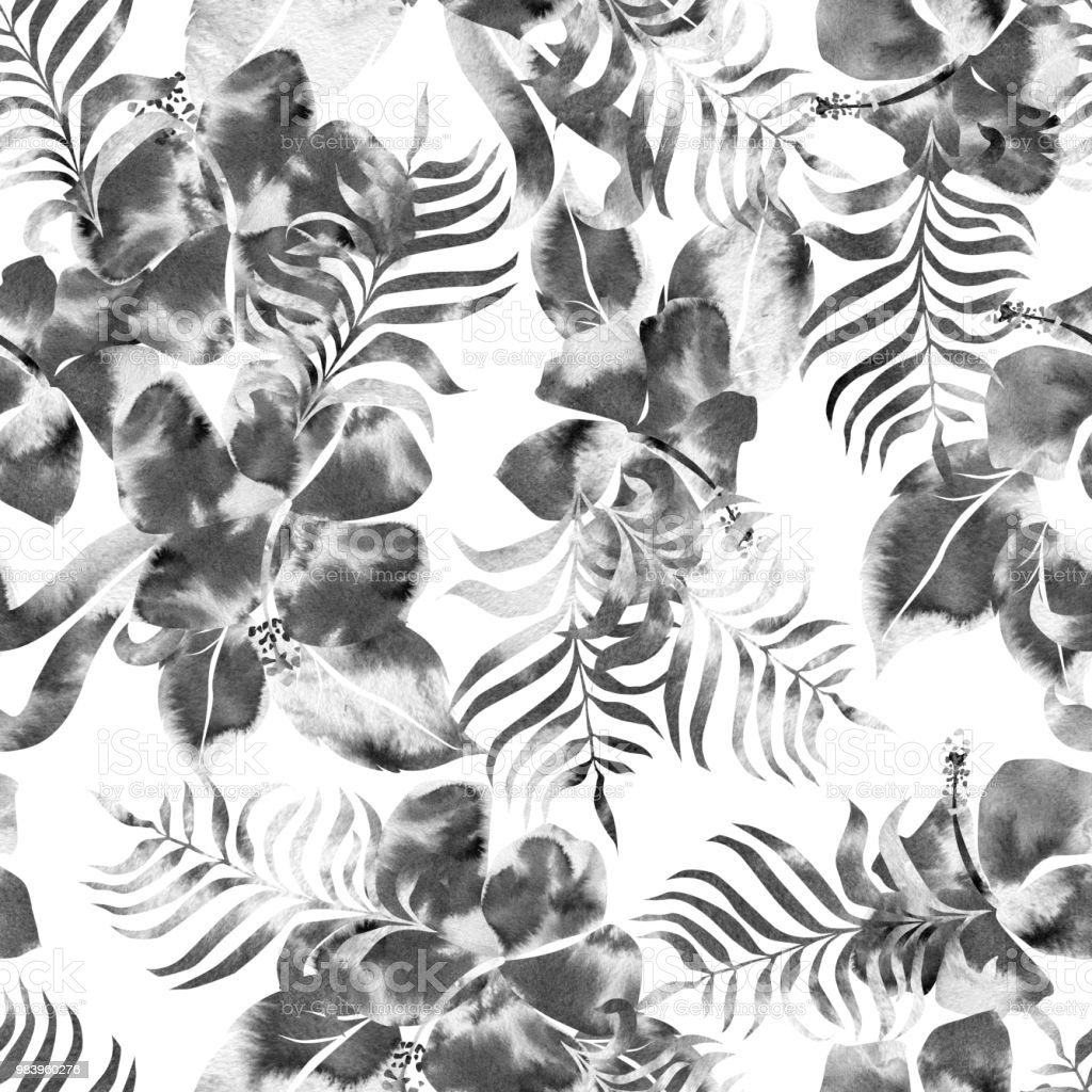 Floral pattern black and white flowers watercolor texture tropical floral pattern black and white flowers watercolor texture tropical hibiscus with palm leaves plant mightylinksfo