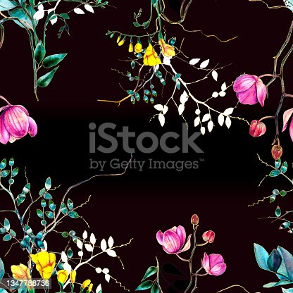 istock Floral pattern. Design for wallpaper, background, fabric, textile. 1347788736