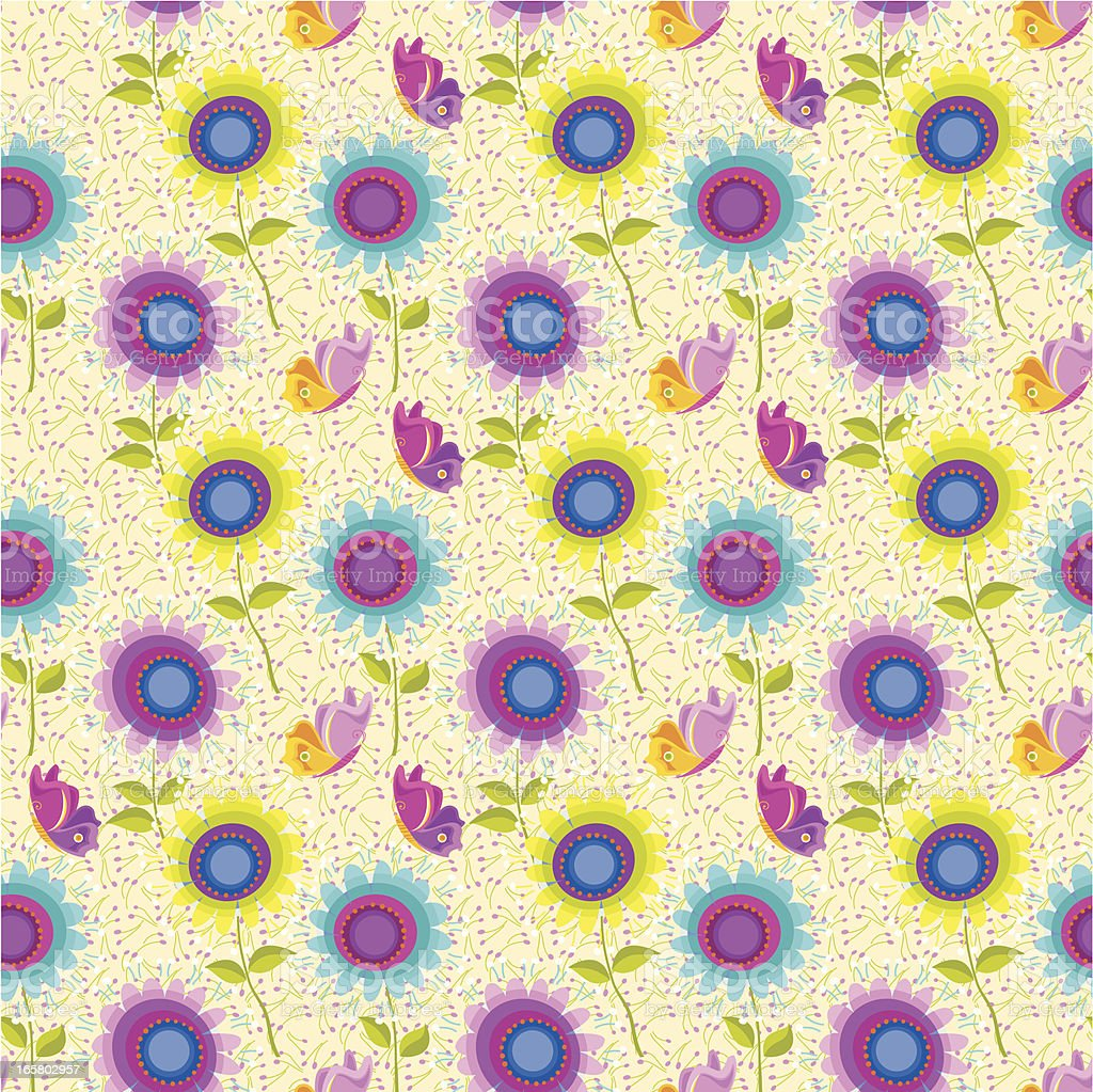 Floral Pattern with Butterflies (Sunflowers) vector art illustration