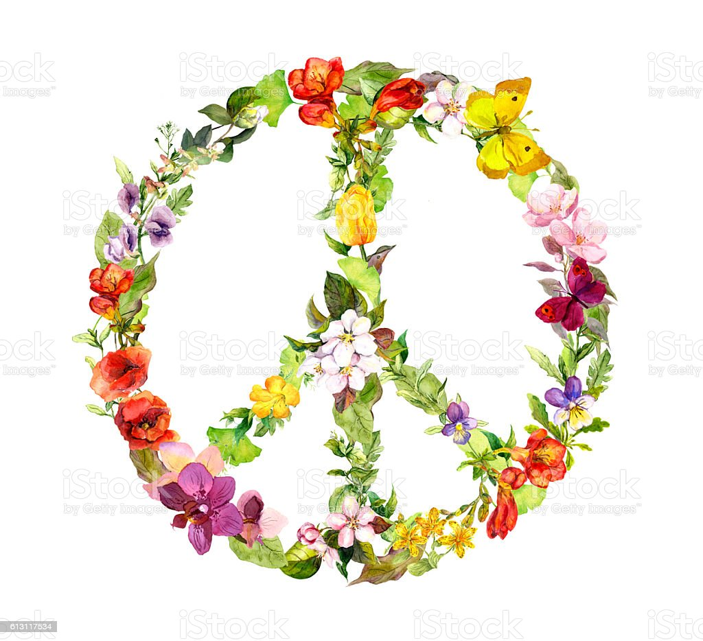 Floral peace sign with flowers. Watercolor vector art illustration