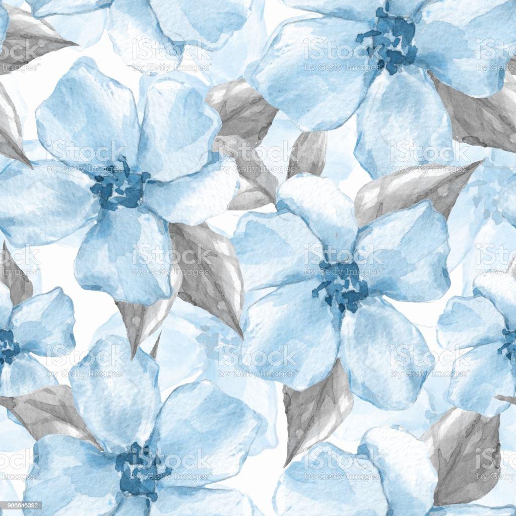 Ilustracion De Patron Transparente Floral 5 Fondo Acuarela Con