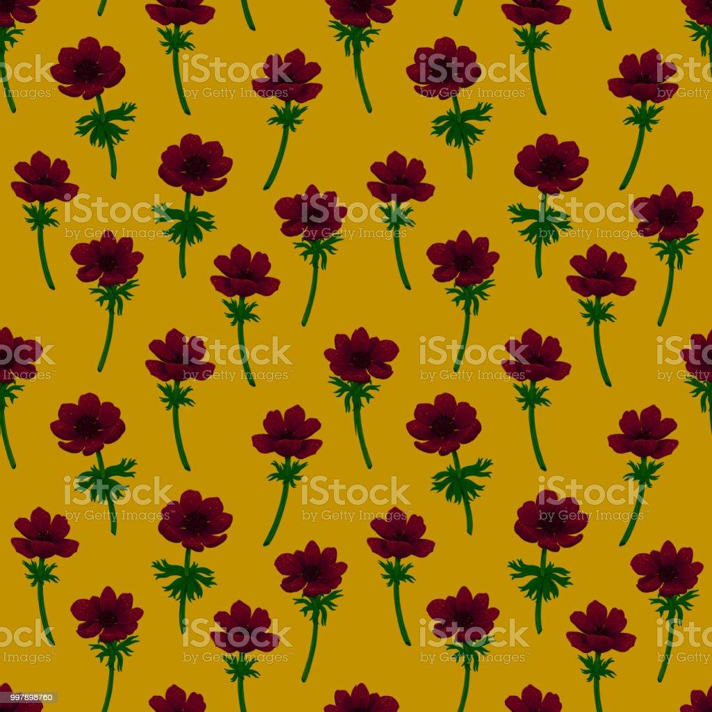 Comment Faire Du Jaune Moutarde floral pattern sans soudure modèle danémones rouges sur fond