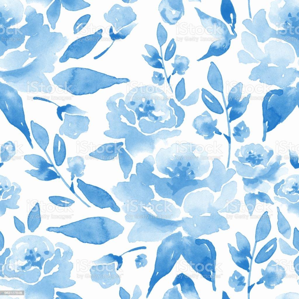 Ilustracion De Patron Transparente Floral Fondo Acuarela Con Flores