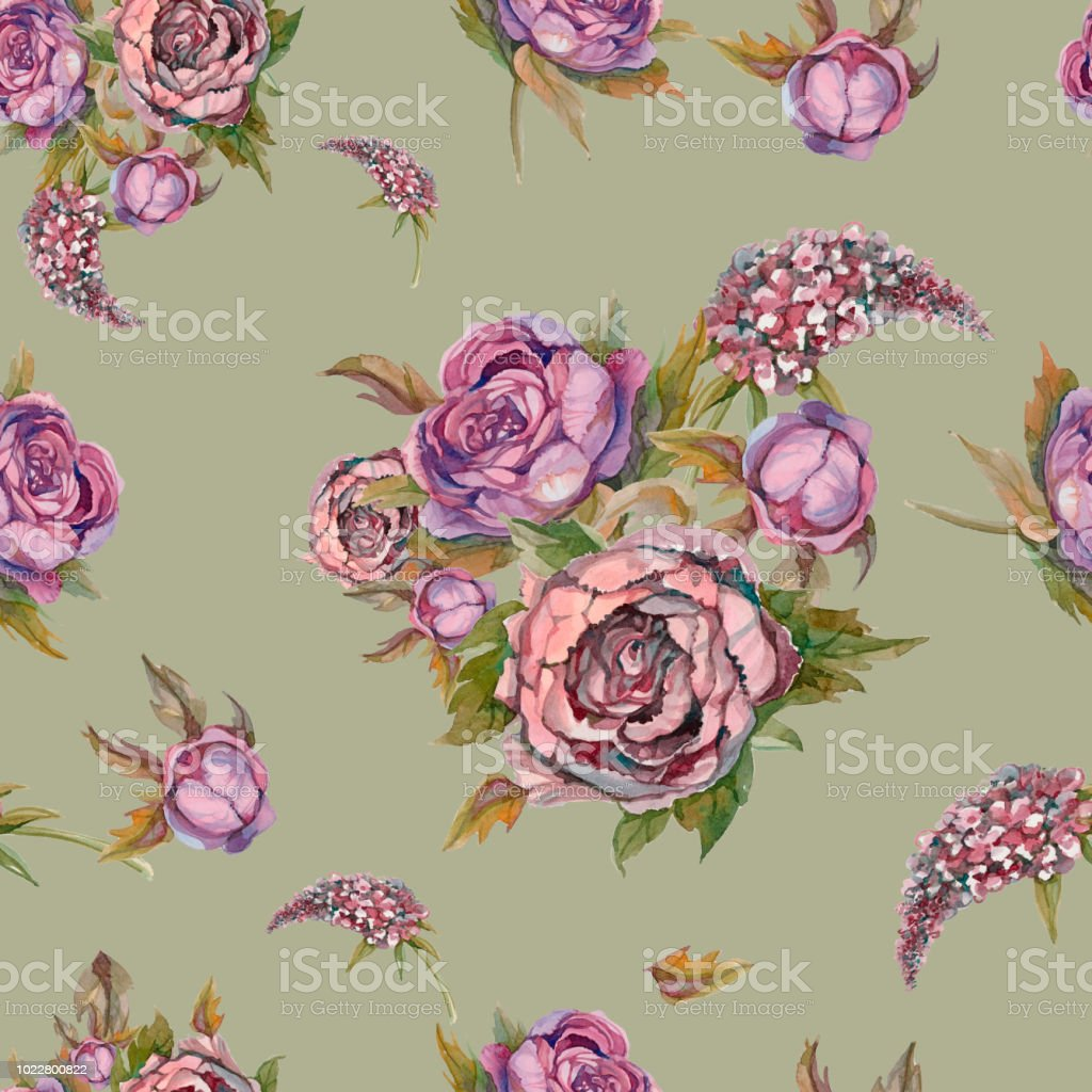 Floral seamless pattern watercolor flowers roses peonies lilacs floral seamless pattern watercolor flowers roses peonies lilacs vintage bouquets of izmirmasajfo