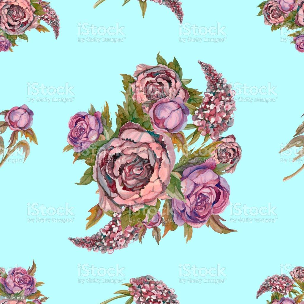Nahtlose Blumenmuster Aquarell Blumen Rosen Pfingstrosen Flieder