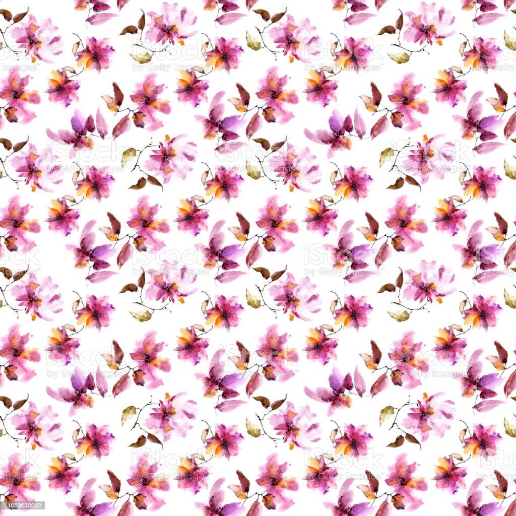 çiçek Seamless Modeli Sulu Boya Pembe Sorunsuz Arka Plan çiçekler