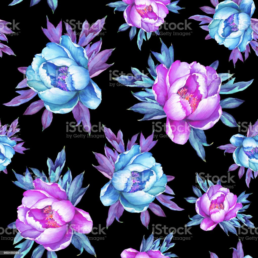 Floral Seamless Pattern With Flowering Pink And Blue Peonies On