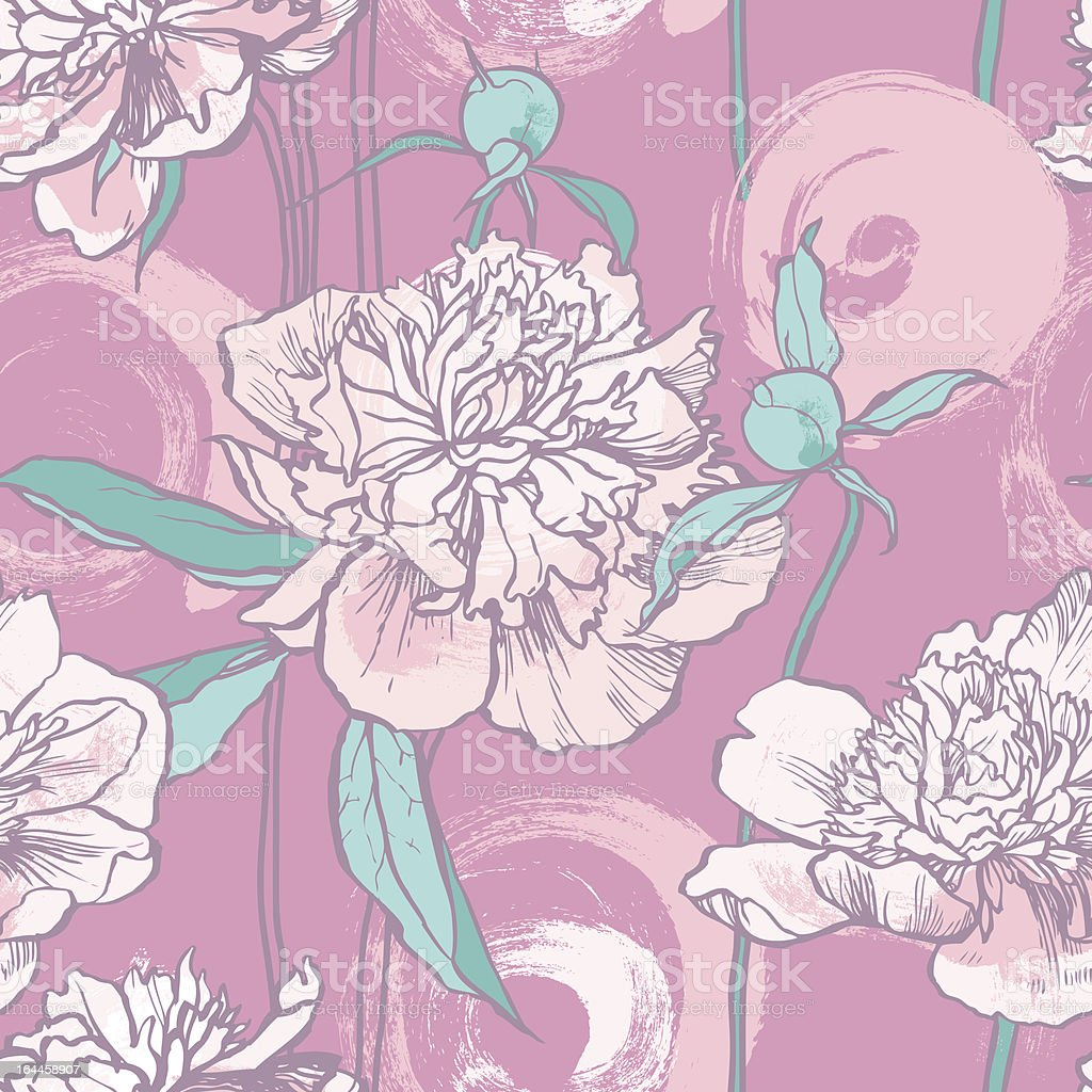 Floral seamless pattern with Peonies royalty-free stock vector art