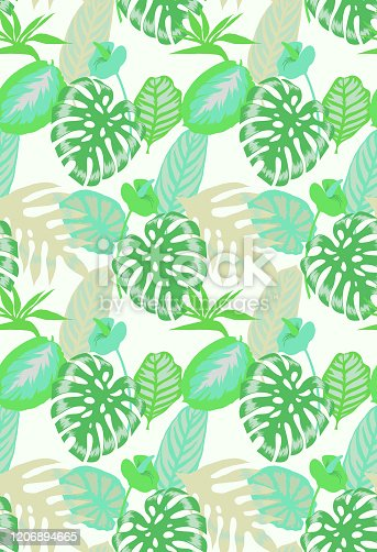 istock Floral seamless pattern with tropical leaves 1206894665