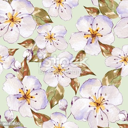 Floral Seamless Pattern With White Flowers 7 Stock Vector Art & More Images of Art 965425100