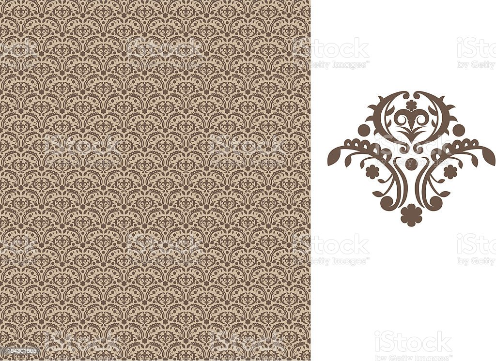 Floral seamless wallpaper - brown royalty-free stock vector art