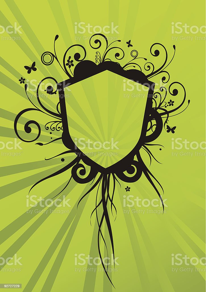 floral shield royalty-free stock vector art