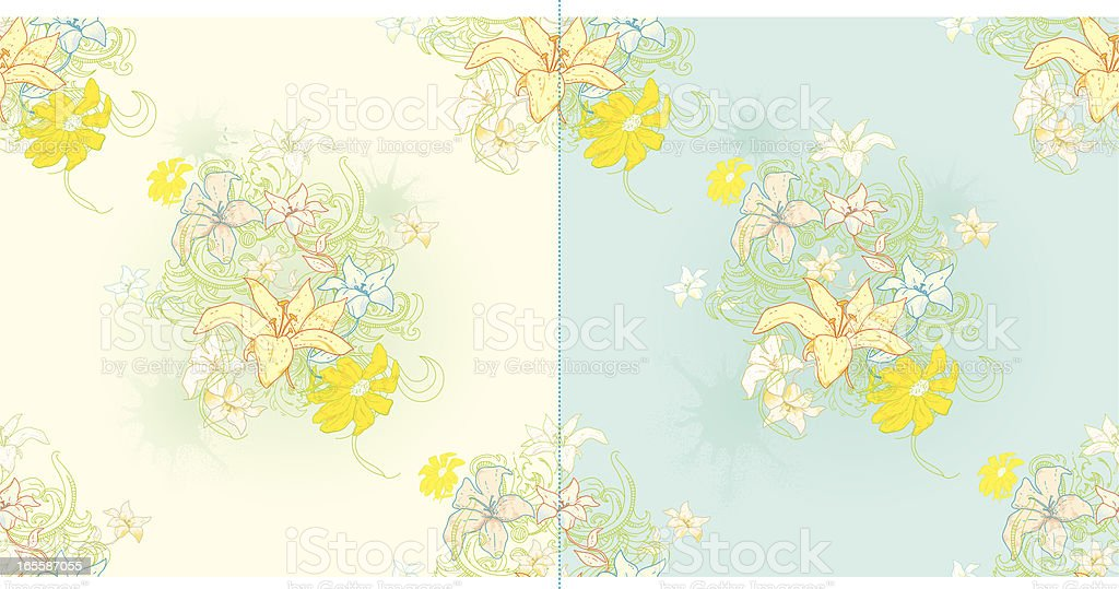 floral tiles repeating vector art illustration