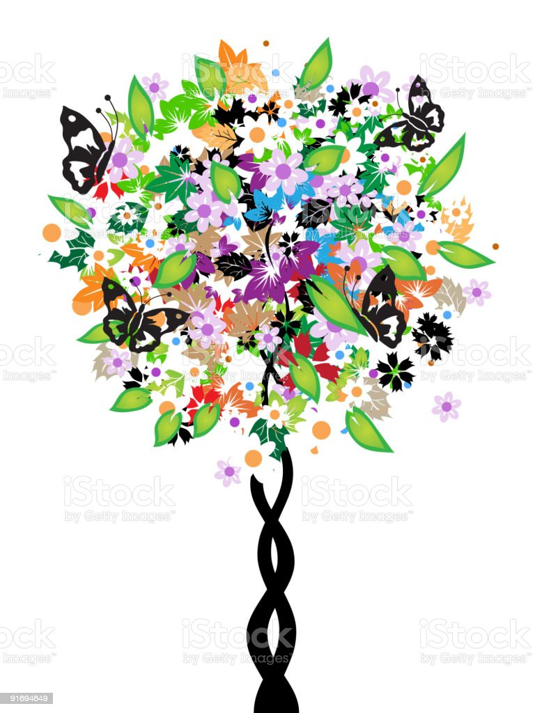 Floral tree, butterflies royalty-free stock vector art