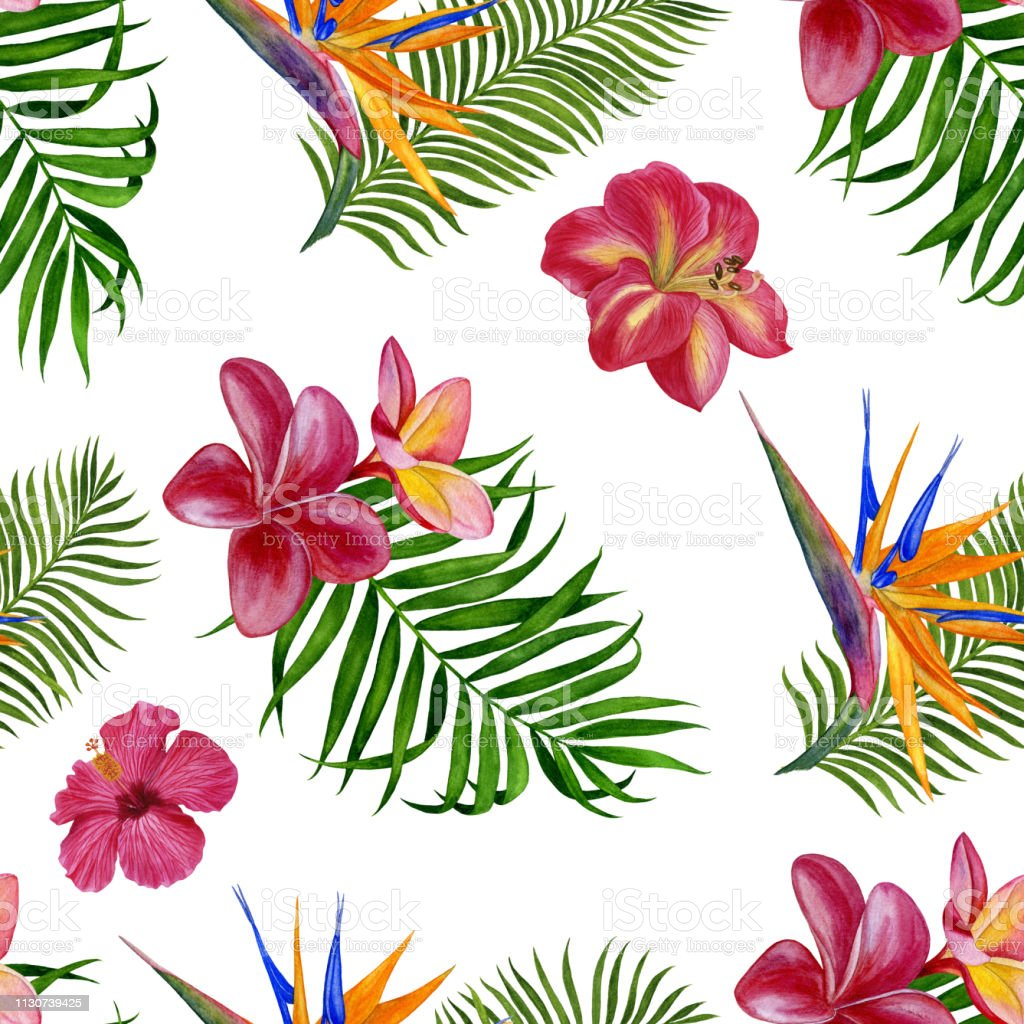 Floral Tropical Pattern For Wallpaper Or Fabric Seamless Pattern