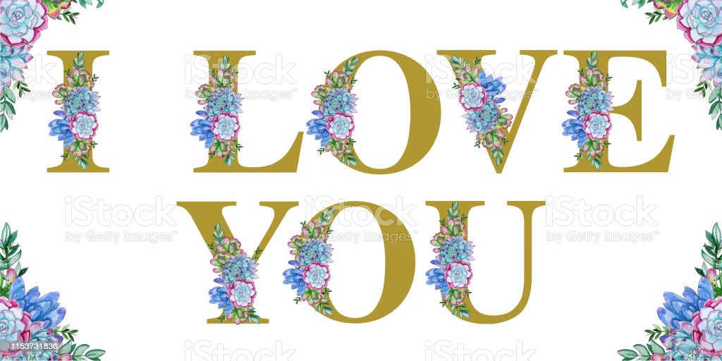Floral Watercolor I Love You Word Art Stock Illustration