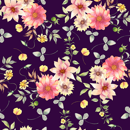 Floral watercolor seamless pattern.