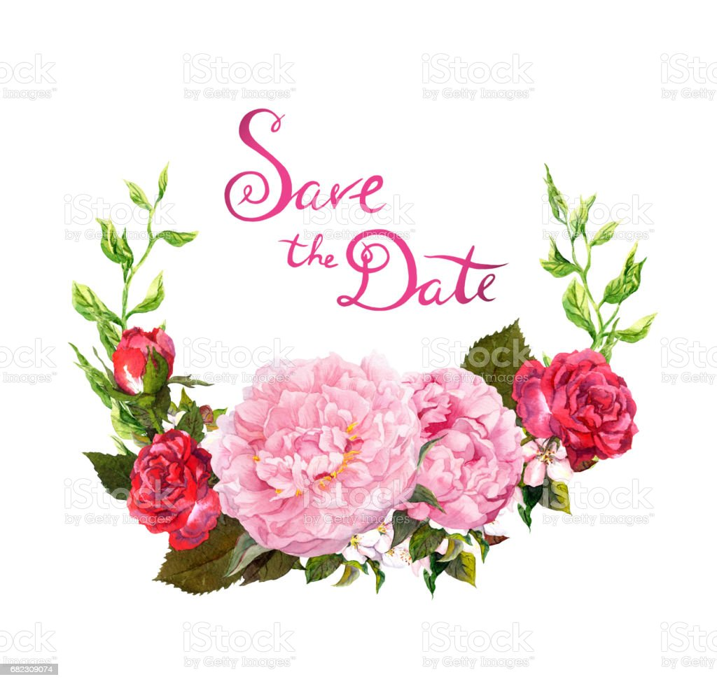 Floral Wreath Pink Peony Flowers Save Date Card For Wedding ...