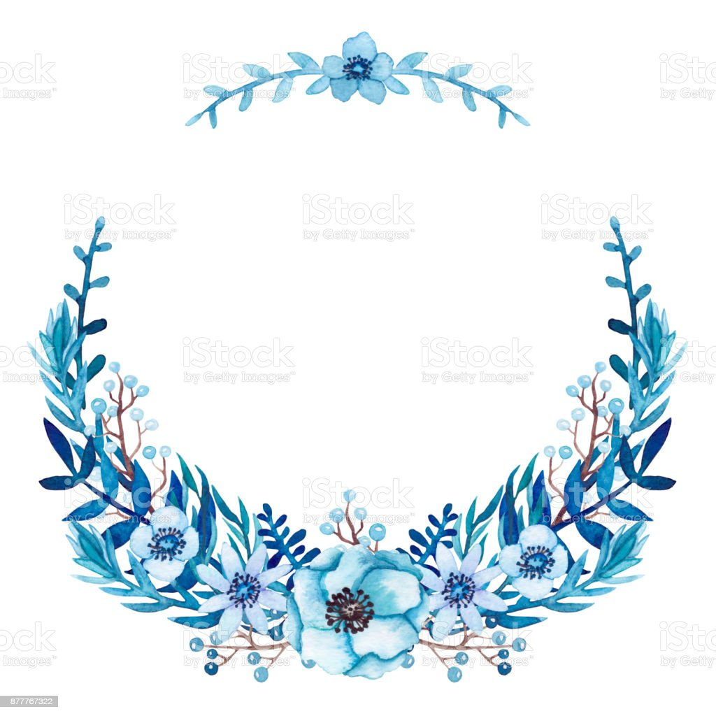 Floral wreath with blue flowers and leaves stock vector art more floral wreath with blue flowers and leaves royalty free floral wreath with blue flowers and izmirmasajfo
