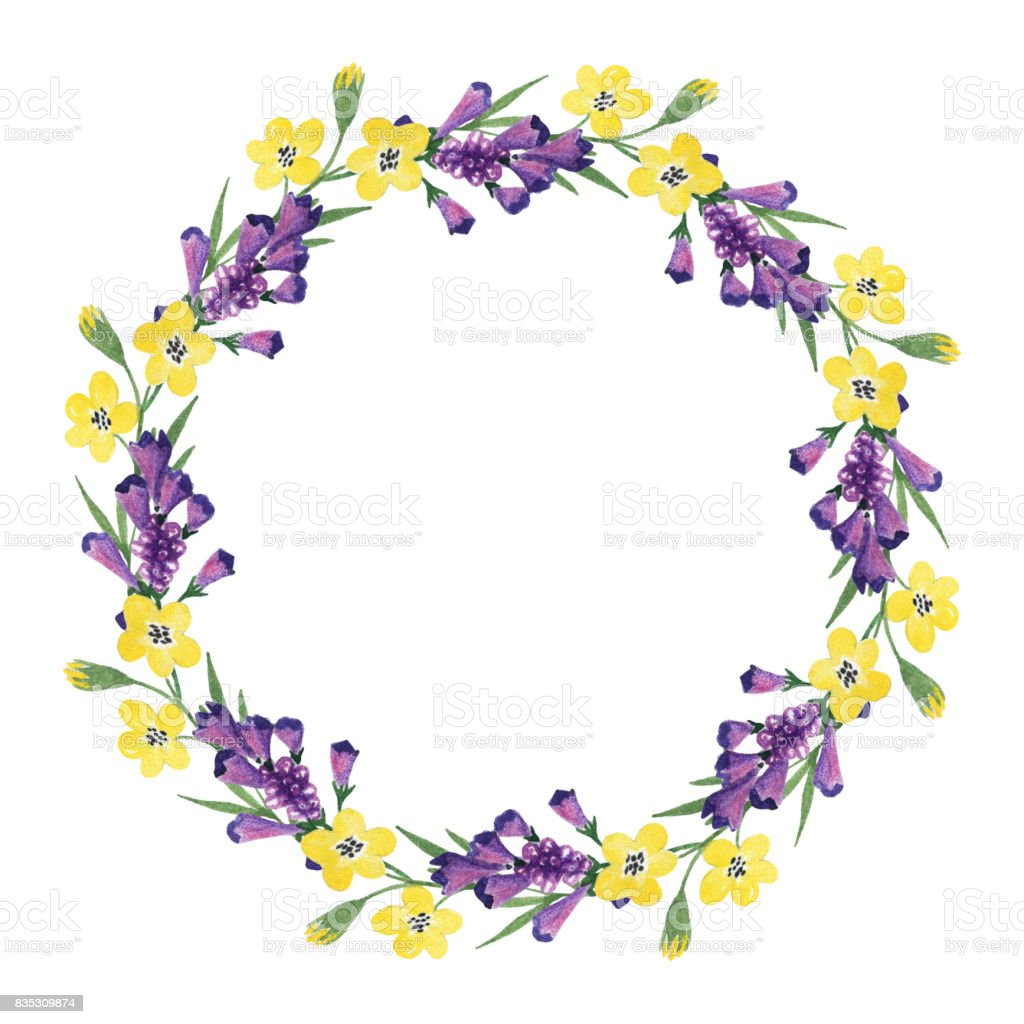 Floral Wreath With Yellow And Purple Flowers Stock Vector Art More
