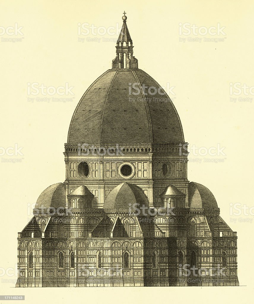 Florence Cathedral | Antique Architectural Illustrations royalty-free stock vector art