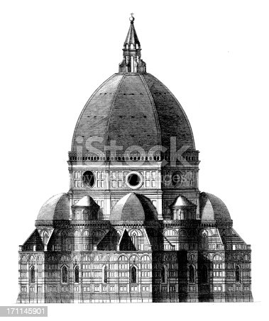 Engraving of the landmark dome of Basilica di Santa Maria del Fiore in Florence, Italy. Published in Systematischer Bilder-Atlas zum Conversations-Lexikon, Ikonographische Encyklopaedie der Wissenschaften und Kuenste (Brockhaus, Leipzig) in 1875.