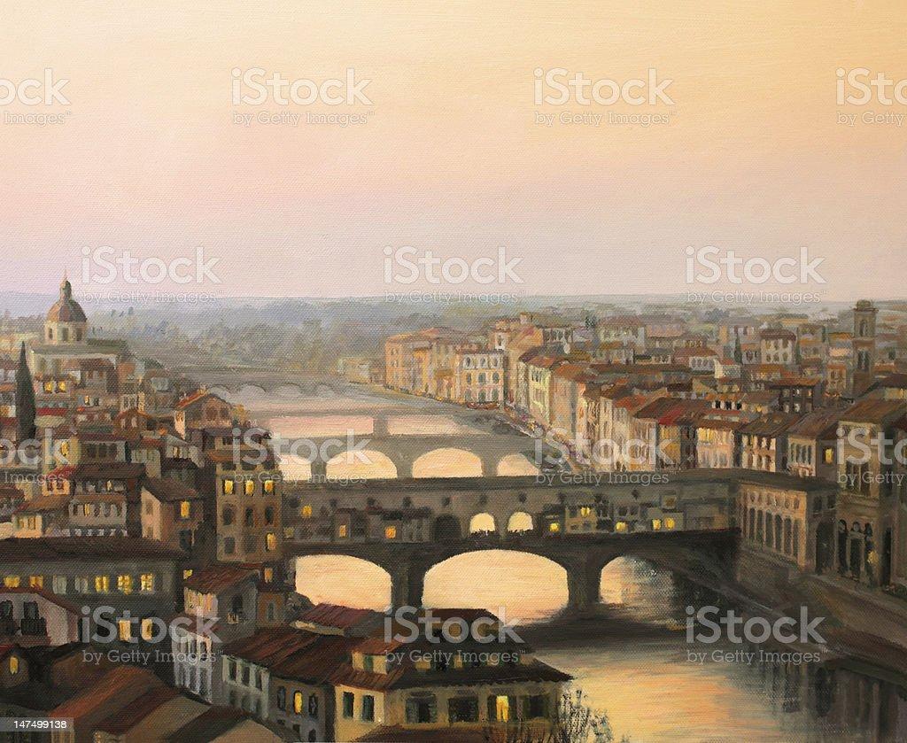 Florence Ponte Vecchio vector art illustration