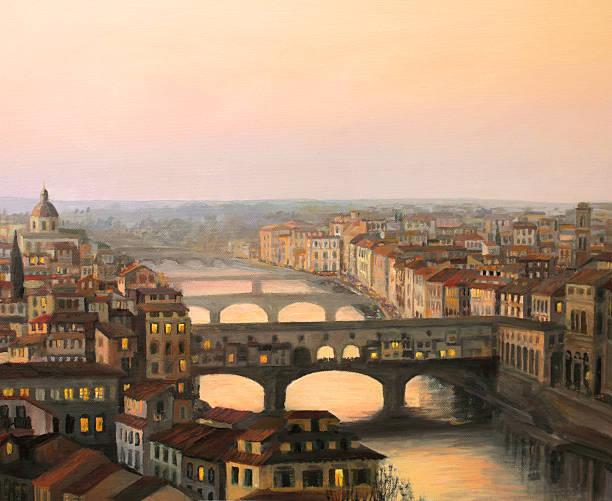 illustrazioni stock, clip art, cartoni animati e icone di tendenza di ponte vecchio a firenze - firenze