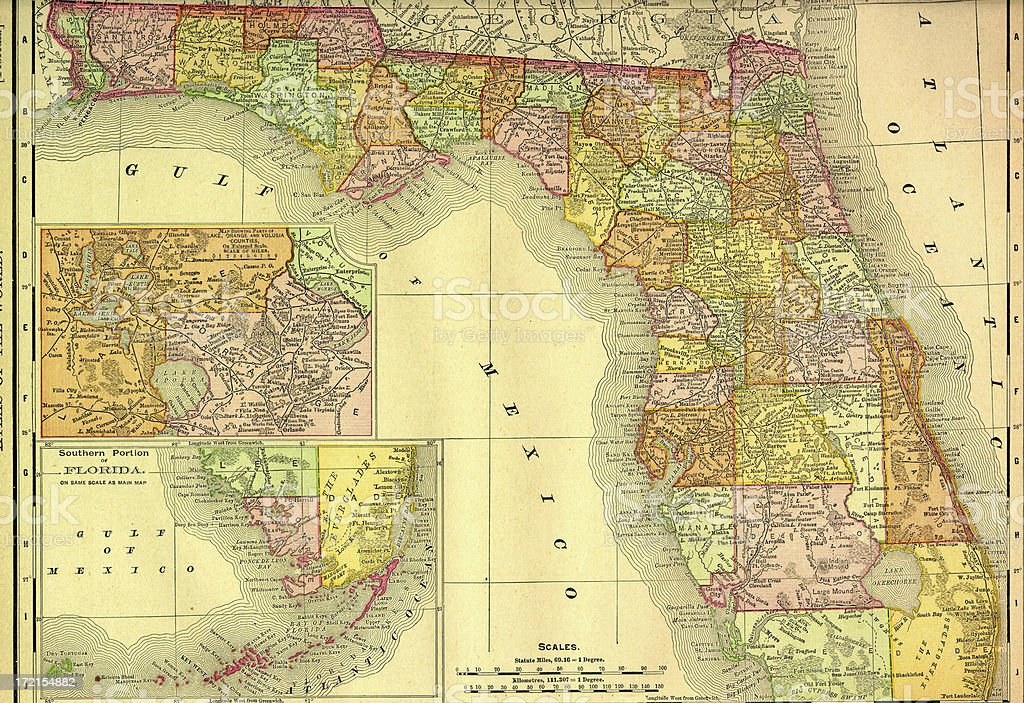 Vintage Florida Map.Royalty Free Vintage Florida Map Silhouette Clip Art Vector Images