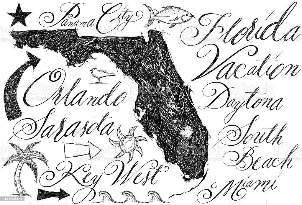 Map Of Florida Vacation Spots.Florida Vacation Spots Stock Vector Art More Images Of Abstract
