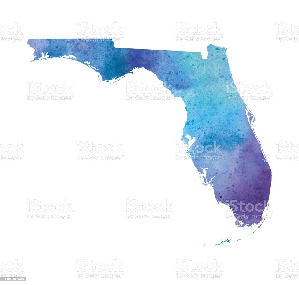Florida Watercolor Raster Map Illustration Stock ...