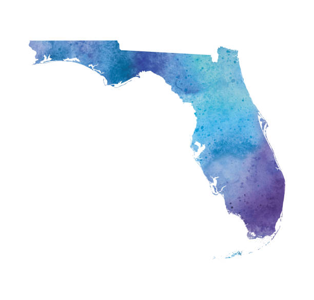 Florida Watercolor Raster Map Illustration Florida Watercolor Raster Map Illustration florida us state stock illustrations