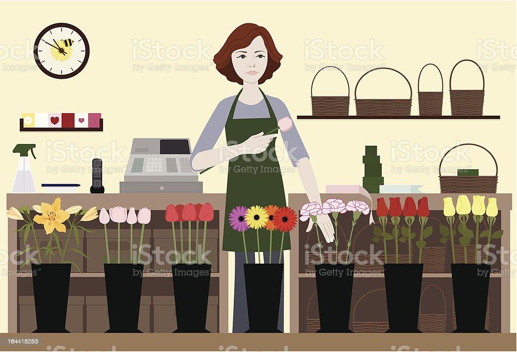 Florist-Selecting Flowers vector art illustration