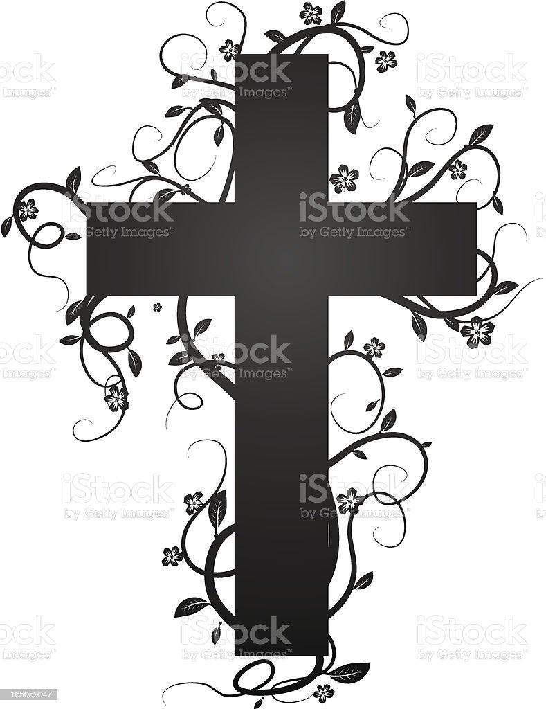 flourish cross vector art illustration