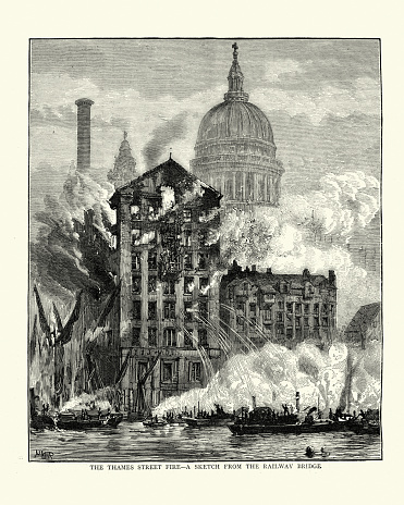 Vintage illustration of Flours Mills at Thames Street on fire, firefighters trying to put out the fire, Victorian London, 1872