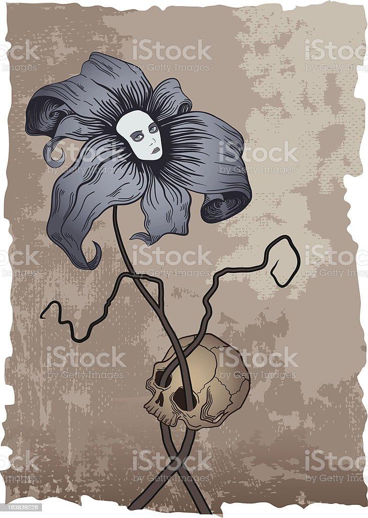 Flower and Skull royalty-free stock vector art