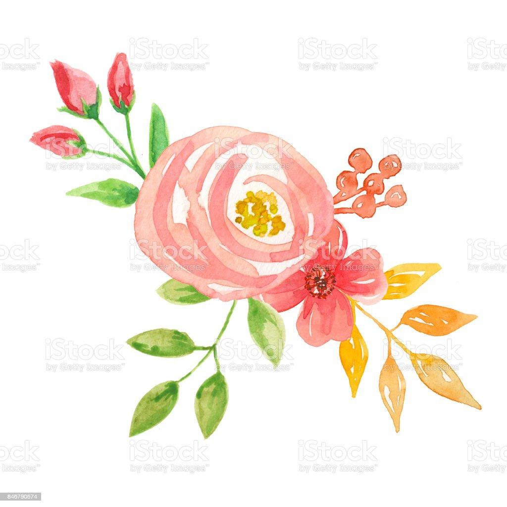 çiçek Demeti Aranjmanı şeftali Suluboya çiçek Stok Vektör Sanatı