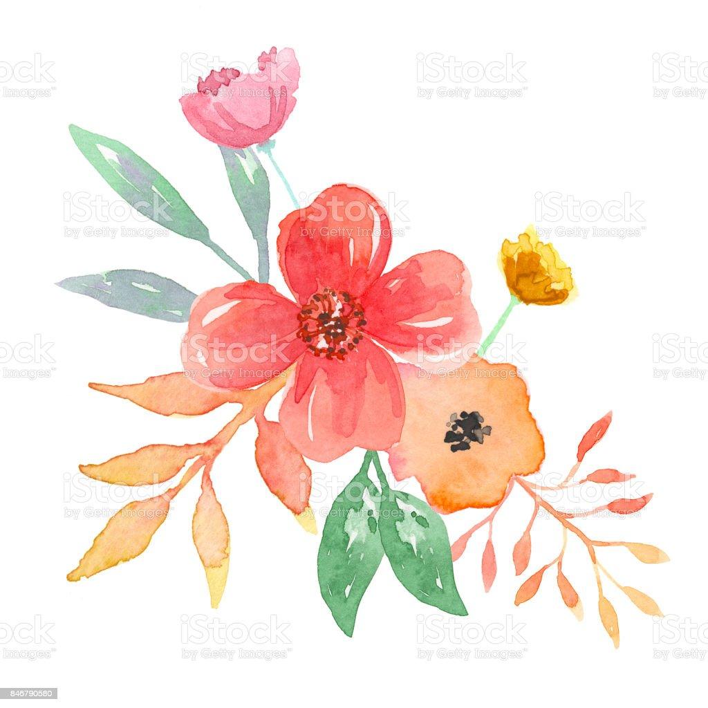 çiçek Demeti Aranjmanı Suluboya çiçek Stok Vektör Sanatı Birleşik
