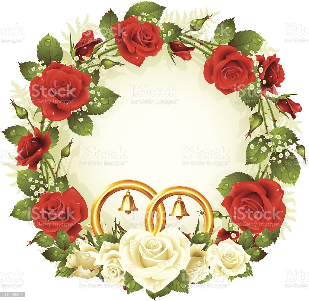 Flower Circle Frame Vector White And Red Rose Stock Vector Art