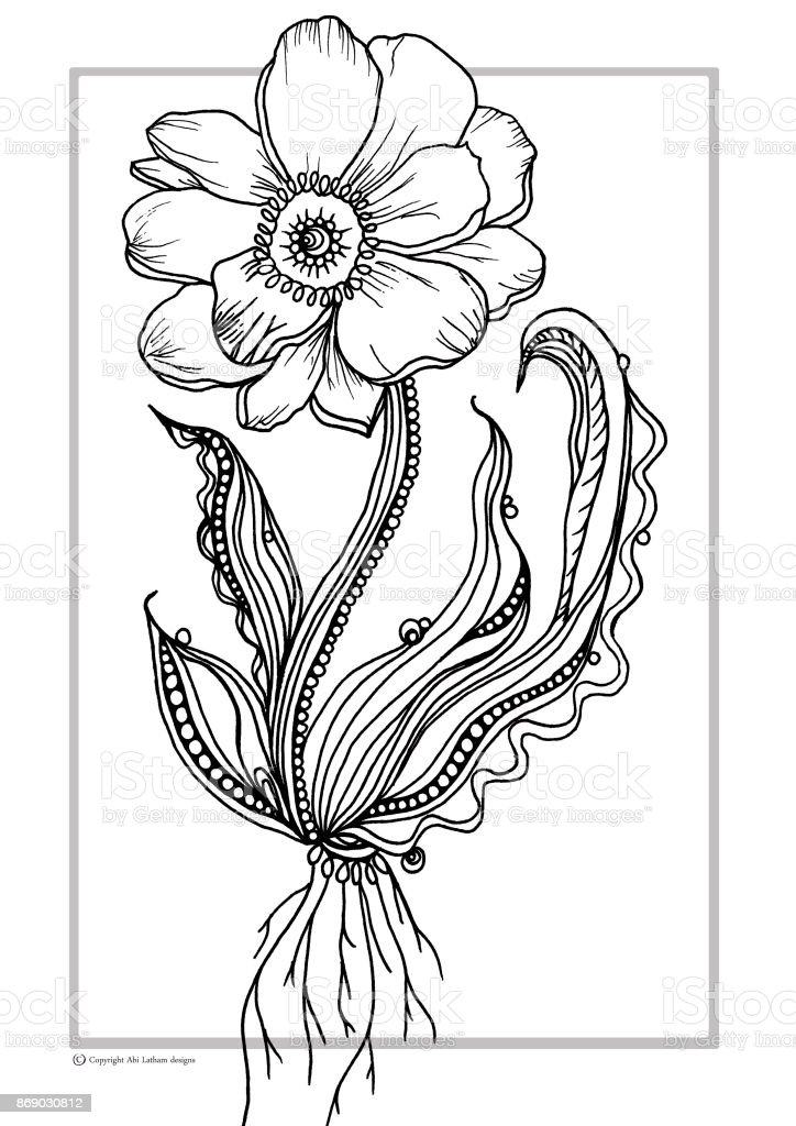 Flower Colouring Book Illustration Stock Illustration - Download Image Now  - IStock