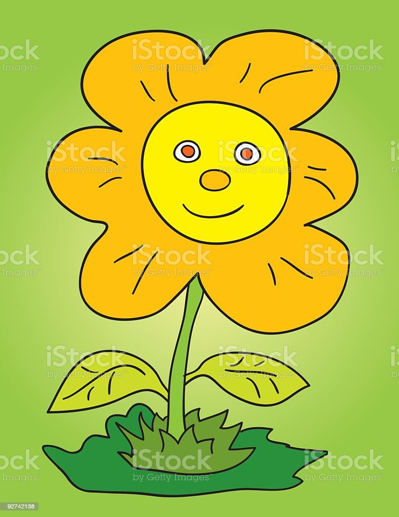 flower face vector art illustration
