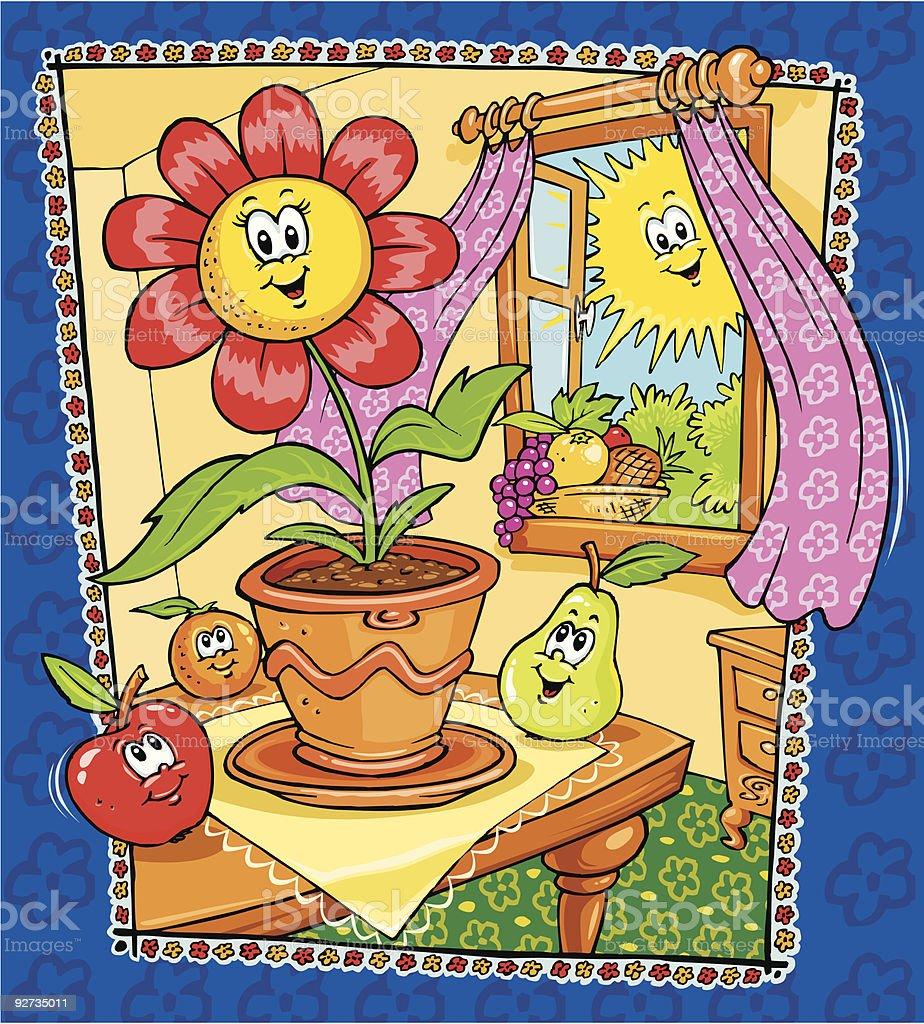 Blumen, Obst und Sonntag Lizenzfreies blumen obst und sonntag stock vektor art und mehr bilder von apfel