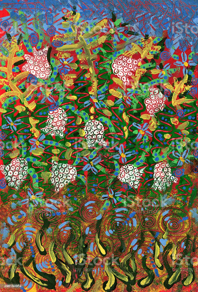 Flower Garden vector art illustration